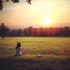 Women with Jack Russell dog watching the sunset