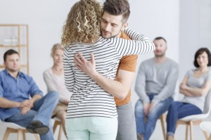Hugging during support group